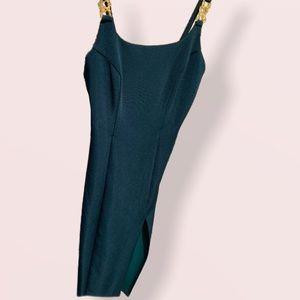 faviana green gold leg slip dress